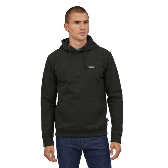 Patagonia P-6 Label Uprisal Recycled Hoody Black for sale online and at assembly88 men's store in Allentown, PA.