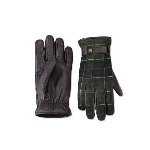Barbour Newbrough Tartan Leather Gloves Classic