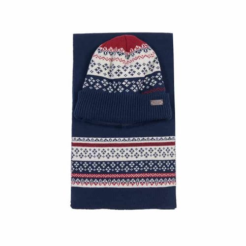 Barbour Fairisle Beanie and Scarf Gift Set Navy/Red-Ecru
