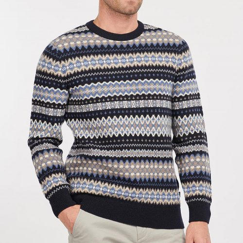 barbour-case-fair-isle-crew-jumper-midnight Available online or in store at assembly88 men's shop in Allentown, PA