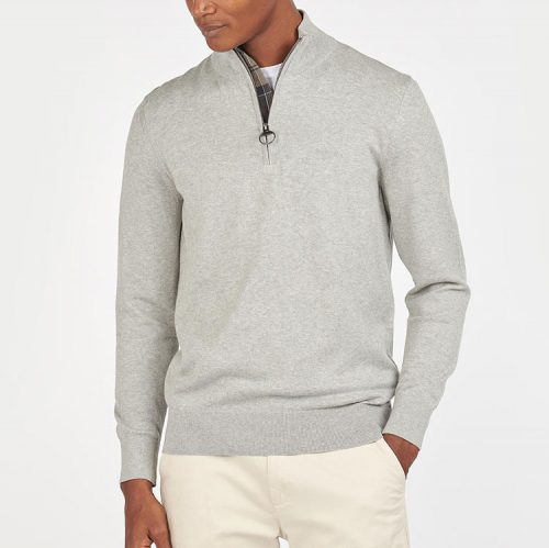 barbour-tain-half-zip-grey-marl-men's-half-zip Available online or in store at assembly88 men's shop in Allentown, PA