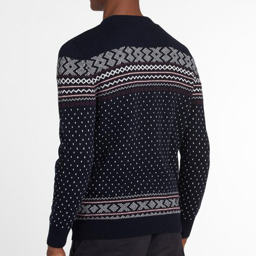 barbour-essential-fair-isle-crew-jumper-navy Available online or in store at assembly88 men's shop in Allentown, PA