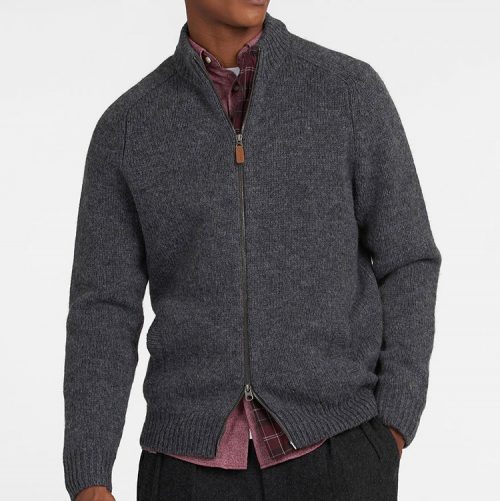 barbour-calder-knitted-zip-sweatshirt-charcoal-marl Available online or in store at assembly88 men's shop in Allentown, PA