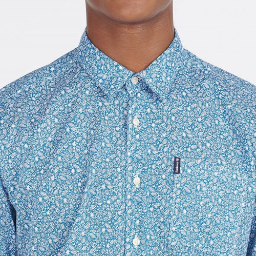 barbour-print-8-short-sleeved-summer-shirt-blue Available online or in store at assembly88 men's shop in Allentown, PA