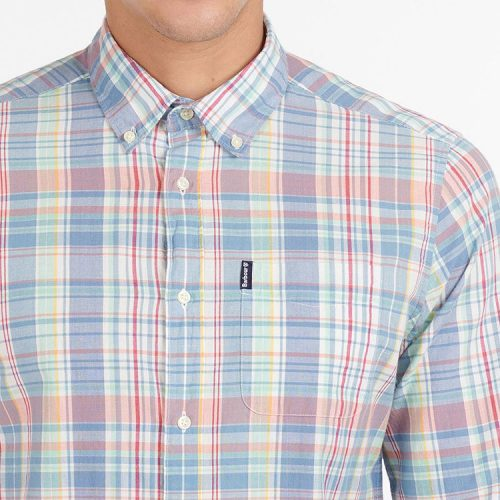 barbour-madras-8-tailored-shirt-sky-blue Available online or in store at assembly88 men's shop in Allentown, PA