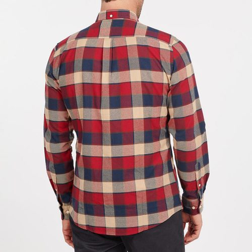 barbour-valley-tailored-shirt-rich-red Available online or in store at assembly88 men's shop in Allentown, PA