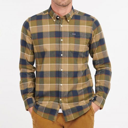 barbour-valley-tailored-fit-plaid-button-down-shirt-stone Available online or in store at assembly88 men's shop in Allentown, PA
