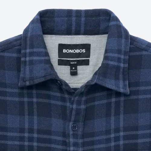 Bonobos Original Cotton Flannel Shirt Navy Plaid