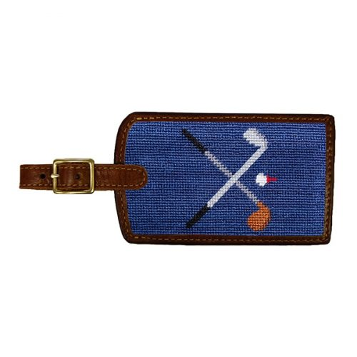 smathers-branson-crossed-clubs-needlepoint-luggage-tag-classic-navy Available online or in store at assembly88 men's shop in Allentown, PA