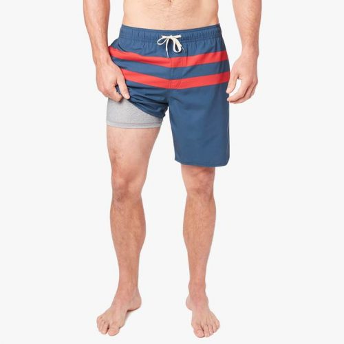 fair-harbor-the-anchor-red-stripe-men's-swim-trunk Available online or in store at assembly88 men's shop in Allentown, PA