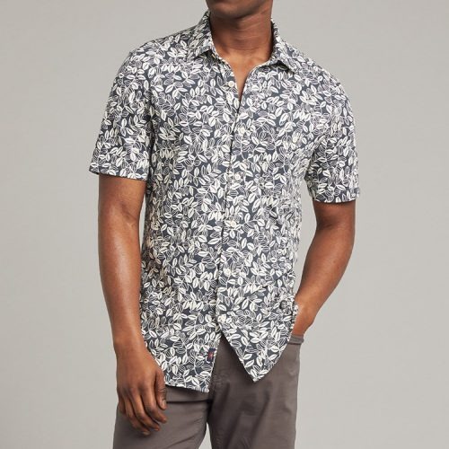 faherty-short-sleeve-knit-seasons-shirt-navy-avellanas-print Available online or in store at assembly88 men's shop in Allentown, PA