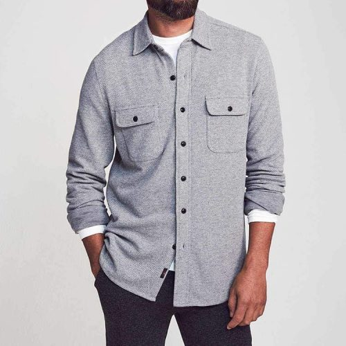 Faherty Legend Sweater Shirt Light Grey