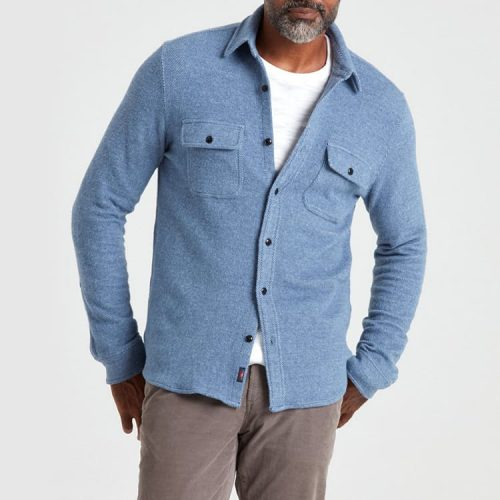 Faherty Legend Sweater Signature Fit Shirt Washed Blue for sale