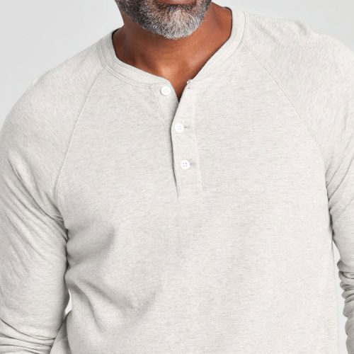 faherty-cloud-long-sleeve-henley-ivory-heather Available online or in store at assembly88 men's shop in Allentown, PA