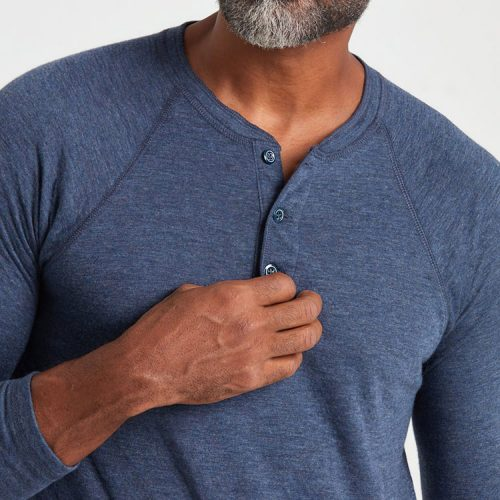 faherty-cloud-long-sleeve-henley-navy-heather Available online or in store at assembly88 men's shop in Allentown, PA