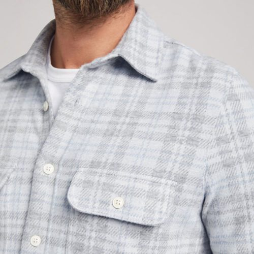 faherty-legend-sweater-shirt-grey-cream-plaid Available online or in store at assembly88 men's shop in Allentown, PA