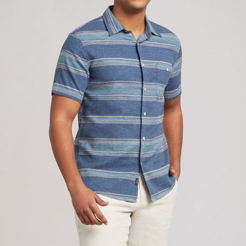 faherty-the-short-sleeve-breeze-shirt-seascape-ombre-stripe Available online or in store at assembly88 men's shop in Allentown, PA