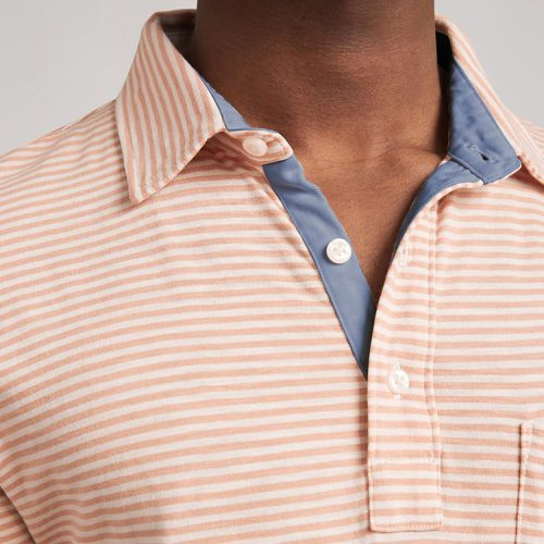 faherty-saltwashed-striped-polo-salt-wash-clay Available online or in store at assembly88 men's shop in Allentown, PA