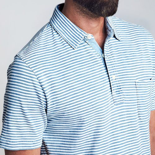 faherty-short-sleeve-indigo-salt-wash-stripe-polo Available online or in store at assembly88 men's shop in Allentown, PA