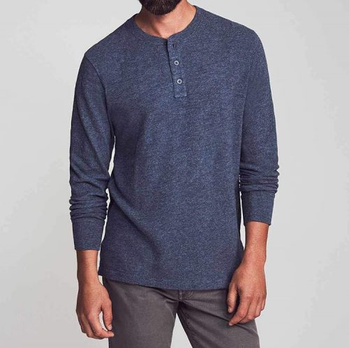 Faherty Slub Cotton Go-To Henley Blue Nights for sale