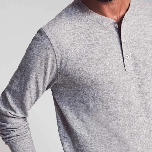 Faherty Slub Cotton Three Button Henley Grey