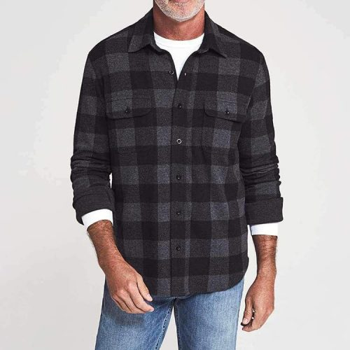 Faherty Legend Sweater Shirt Charcoal Black Buffalo