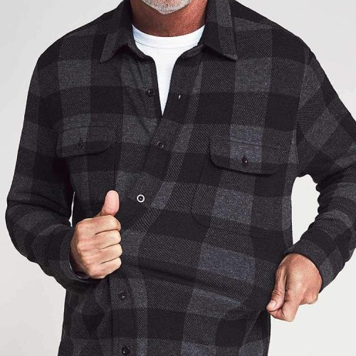 Faherty Legend Sweater Shirt Charcoal Black Buffalo for sale