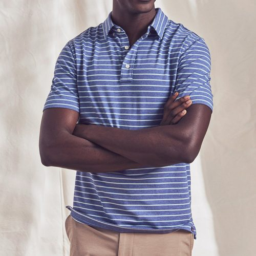 faherty-Movement-Short-Sleeve-Polo-Amagansett-Stripe Available online or in store at assembly88 men's shop in Allentown, PA