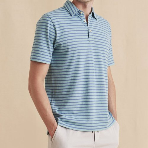 faherty-isle-polo-Atlantic-Waters-Stripe Available online or in store at assembly88 men's shop in Allentown, PA