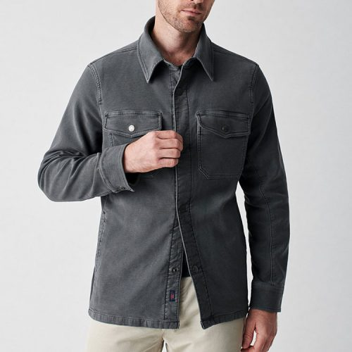 faherty-stretch-terry-shirt-jacket-dark-slate Available online or in store at assembly88 men's shop located in Allentown, PA