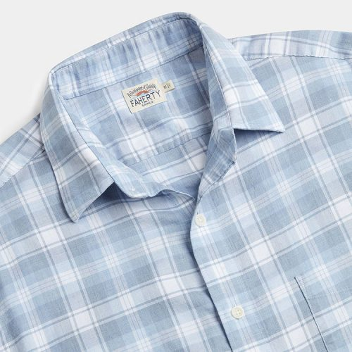 faherty-heathered-movement-shirt-marina-plaid Available online or in store at assembly88 men's shop in Allentown, PA