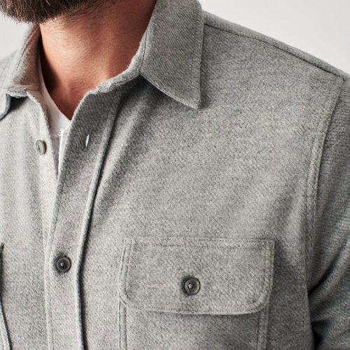faherty-legend-sweater-shirt-fossil-grey-twill Available online or in store at assembly88 men's shop in Allentown, PA