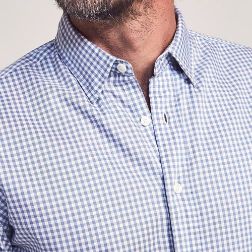 faherty-the-movement-shirt-light-blue-gingham Available online or in store at assembly88 men's shop in Allentown, PA