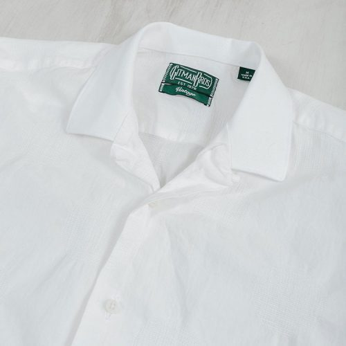 gitman-dobby-dot-camp-shirt-white-men's-button-down Available online or in store at assembly88 men's shop in Allentown, PA