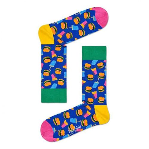 Happy Sock Hamburger Royal/Combo socks for sale online and at assembly88 men's store in Allentown, PA.