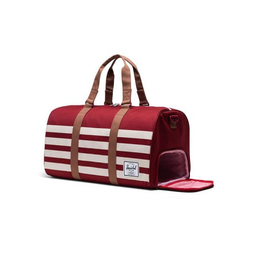 herschel-supply-novel-duffle-rhubarb-birch-stripe Available online or in store at assembly88 men's shop in Allentown, PA