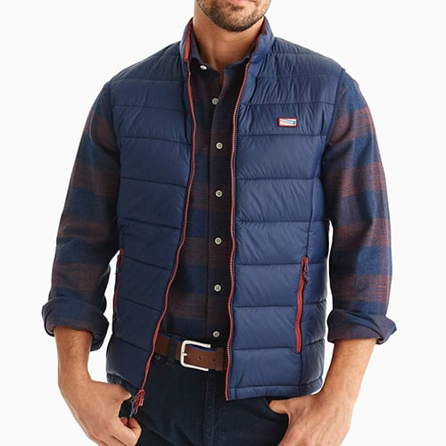 johnnie-O Hudson Quilted 2-Way Zip Front Vest Wake