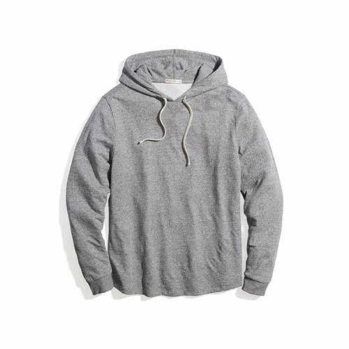 Marine Layer Double Knit Pullover Hoodie Heather Grey