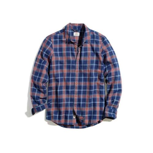 Marine Layer Indigo Twill Shirt Indigo/Red Plaid