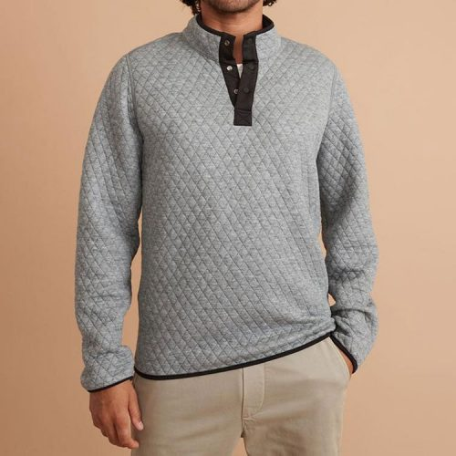 marine-layer-corbet-reversible-pullover-in-charcoal-mid-heather-grey Available online or in store at assembly88 men's shop in Allentown, PA
