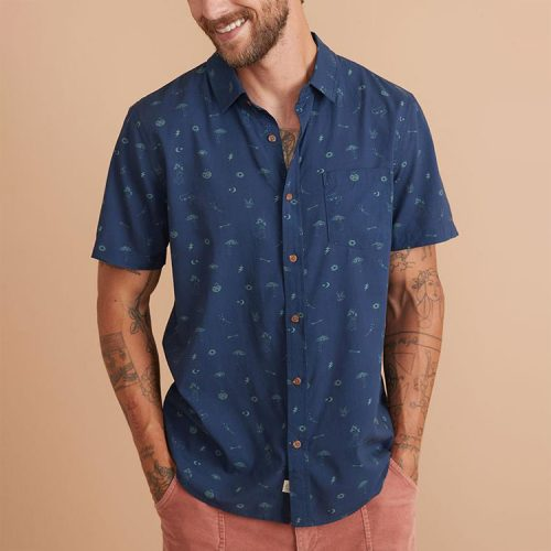 marine-layer-cotton-rayon-shirt-in-ml-mystic-print Available online or in store at assembly88 men's shop in Allentown, PA