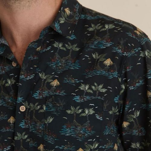 marine-layer-short-sleeve-cotton-rayon-shirt-in-beachy-palm-print Available online or in store at assembly88 men's shop in Allentown, PA
