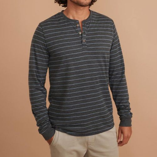 marine-layer-double-knit-henley-in-heather-grey-light-blue Available online or in store at assembly88 men's shop in Allentown, PA