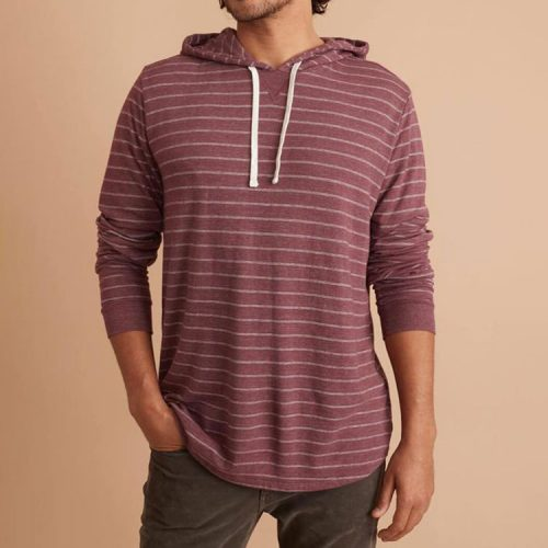 marine-layer-double-knit-pullover-hoodie-in-tawny-port-white-stripe Available online or in store at assembly88 men's shop in Allentown, PA