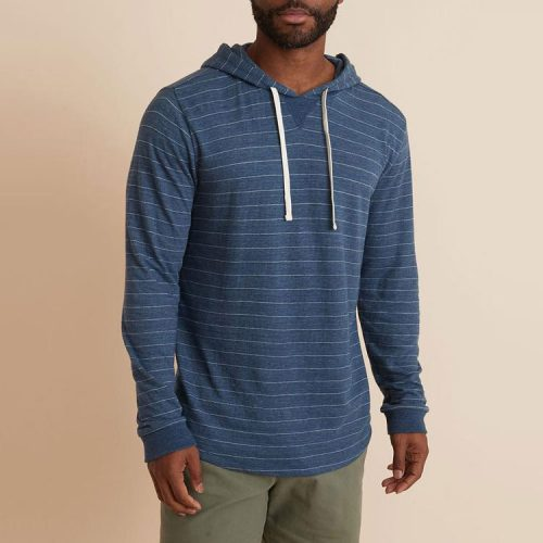 marine-layer-double-knit-pullover-hoodie-in-navy-white available online or in store at assembly88 men's shop in Allentown, PA