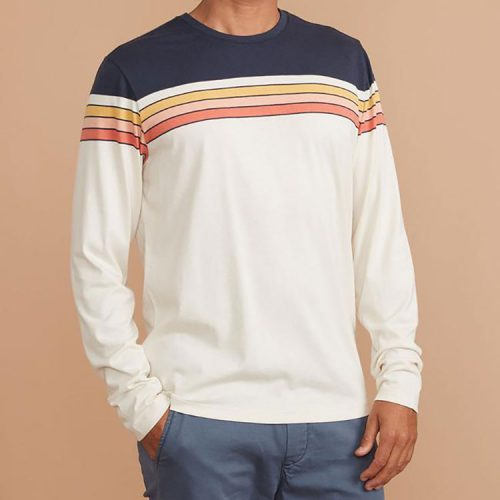 marine-layer-long-sleeve-engineered-stripe-tee-navy-natural-colorblock Available online or in store at assembly88 men's shop in Allentown, PA