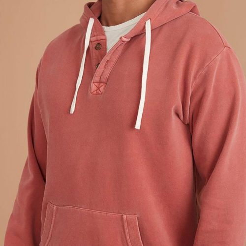marine-layer-garment-dye-henley-hoodie-in-chutney Available online or in store at assembly88 men's shop in Allentown, PA