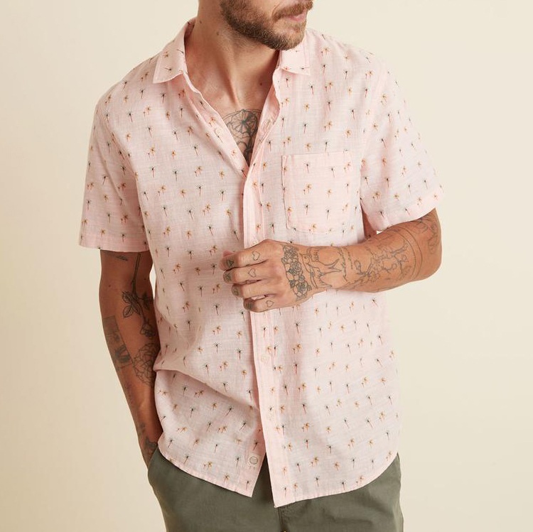 marine-layer-lightweight-cotton-shirt-in-faded-pink-palm-print Available online or in store at assembly88 men's shop in Allentown, PA