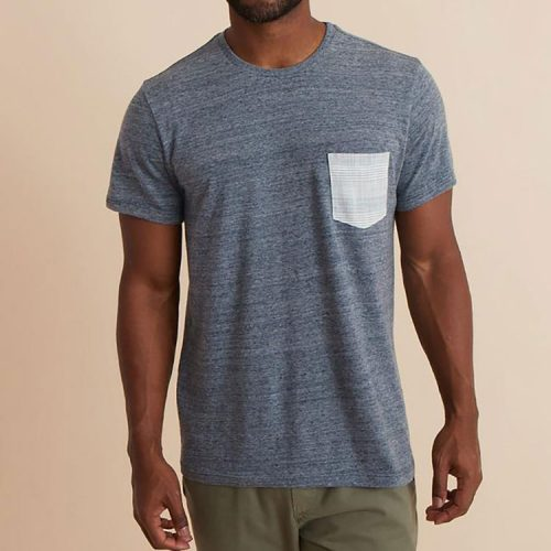 marine-layer-Signature-Pocket-Tee-in-Denim-Neps Available online or in store at assembly88 men's shop in Allentown, PA