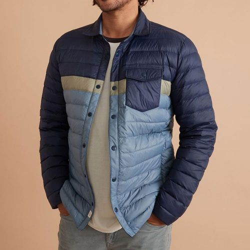 marine-layer-puffer-overshirt-in-black-iris-china-blue Available online or in store at assembly88 men's shop in Allentown, PA